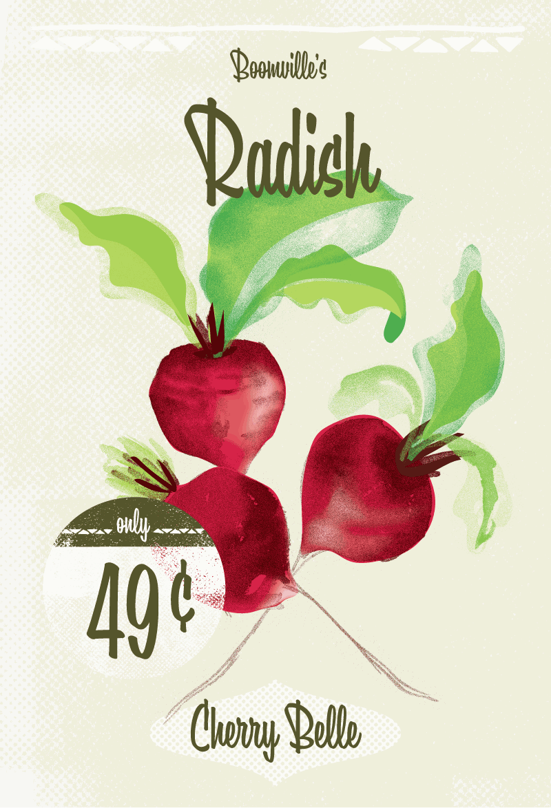 Radish seed packets designed to demonstrate the Boomville typeface.