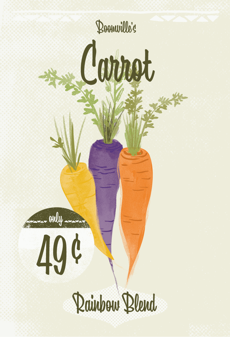 Carrot seed packets designed to demonstrate the Boomville typeface.